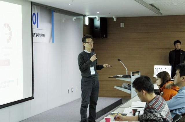 6개월 챌린지플랫폼 데모데이에서 발표 중인 이창근 대표 - 창조경제타운 제공